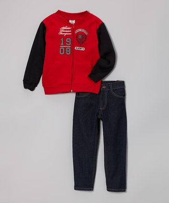 Red Zip-Up Varsity Jacket & Jeans - Toddler & Boys