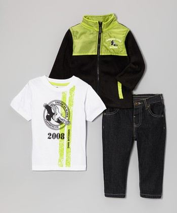 Black & Lime Zip-Up Jacket Set - Infant