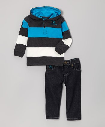 Charcoal & Turquoise Stripe Hoodie & Jeans - Infant