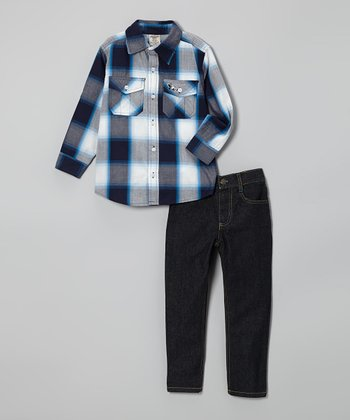 Blue & Black Plaid Button-Up & Jeans - Boys