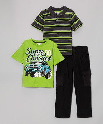 Charcoal & Lime Stripe Polo Set - Toddler & Boys