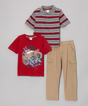 Gray & Red Stripe Polo Set - Toddler & Boys