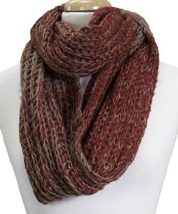 Red & Brown Infinity Scarf