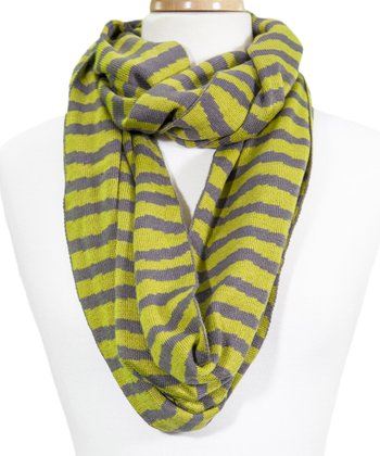 Green & Gray Stripe Infinity Scarf