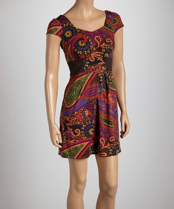 Black & Red Paisley Gathered Cap-Sleeve Dress - Women