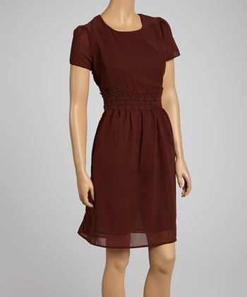 Brown Lace-Trim Dress