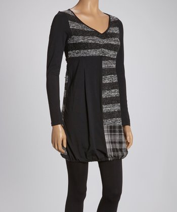 Black & Gray Stripe Tunic - Women