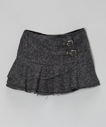 Black Buckle Wool-Blend Skirt