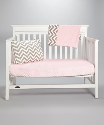 Silver Chevron & Baby Pink Minky Toddler Set