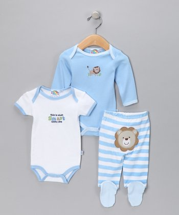 Light Blue & White Stripe Layette Set - Infant
