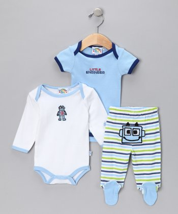 Dark Blue & White Footie Pants Set - Infant