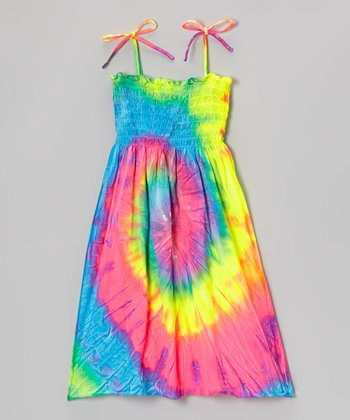 Green Rainbow Swirl Dye Sundress - Girls