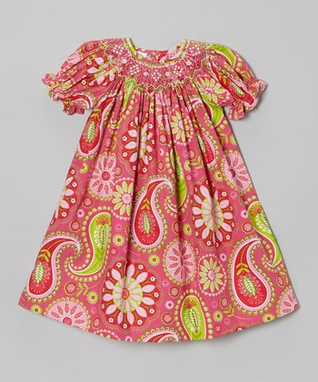 Hot Pink Paisley Bishop Dress - Infant, Toddler & Girls