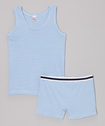 Blue & White Stripe Tank & Boxer Briefs - Infant, Toddler & Boys