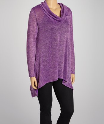 Purple Cowl Neck Sweater Tunic - Plus