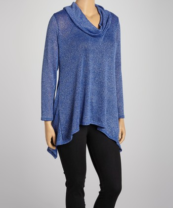 Royal Cowl Neck Top - Plus