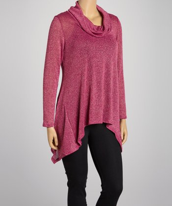 Fuchsia Cowl Neck Sweater Tunic - Plus