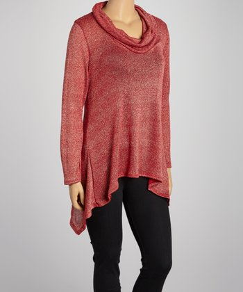 Red Cowl Neck Sweater - Plus