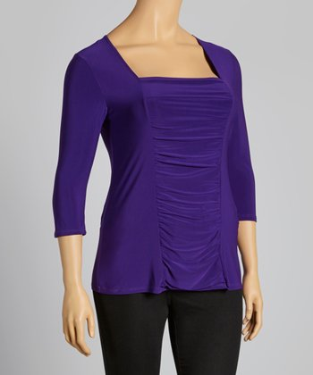Purple Three-Quarter Sleeve Top - Plus