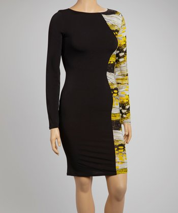 Black & Yellow Abstract Panel Dress - Plus