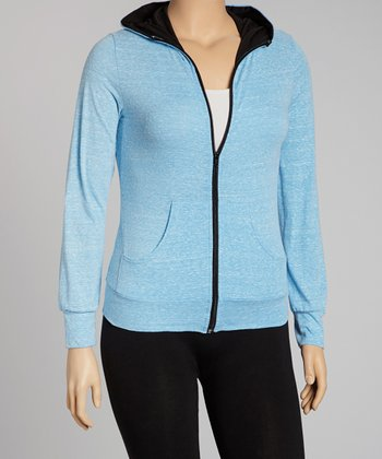 Blue Zip-Up Hoodie - Plus