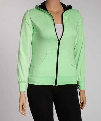 Green Zip-Up Hoodie - Plus