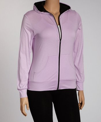 Lavender Zip-Up Hoodie - Plus