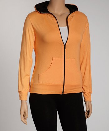 Orange Zip-Up Hoodie - Plus