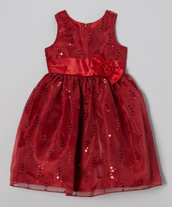 Red Sequin Bow Dress - Girls
