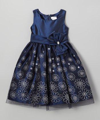 Navy Glitter Floral Bow Dress - Girls