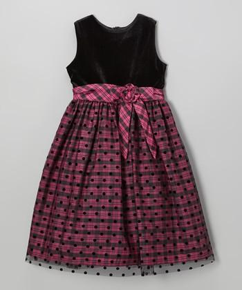 Fuchsia & Black Plaid Polka Dot Dress - Girls