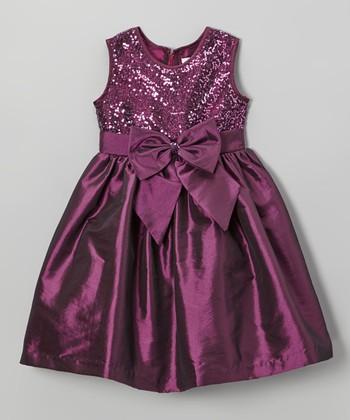 Plum Sequin Bow Dress - Girls