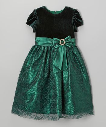 Green Velvet Floral Lace Bow Dress - Girls