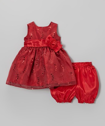Red Sequin Bow Dress & Bloomers - Infant