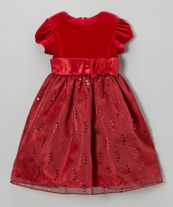 Red Velvet Sequin Bow Dress - Toddler & Girls