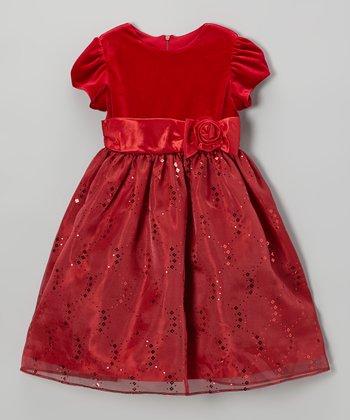 Red Velvet Sequin Bow Dress - Toddler & Girls