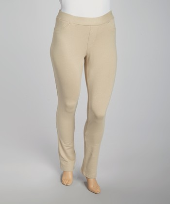 Khaki Pull-On Jeggings - Plus