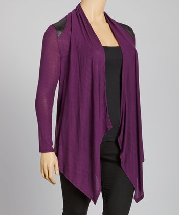 Purple Faux Leather Panel Sidetail Cardigan - Plus