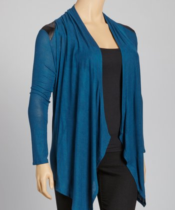 Teal Faux Leather Panel Sidetail Cardigan - Plus