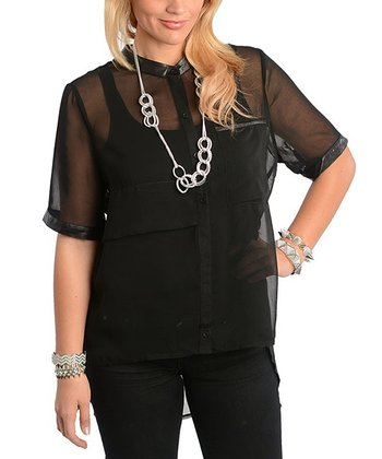 Black Sheer Button-Up Top - Plus