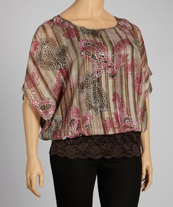 Brown & Pink Paisley Cape-Sleeve Top - Plus