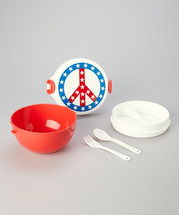 Red, White & Blue Peace Lunch Container