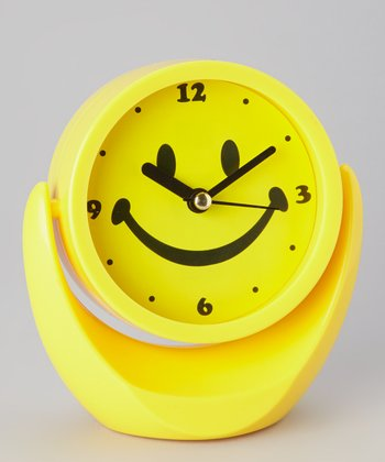 Yellow Smiley Face Mirror Clock