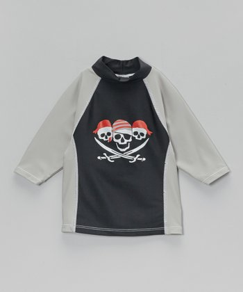 Gray & Black Yo Ho Ho Rashguard - Infant, Toddler & Boys