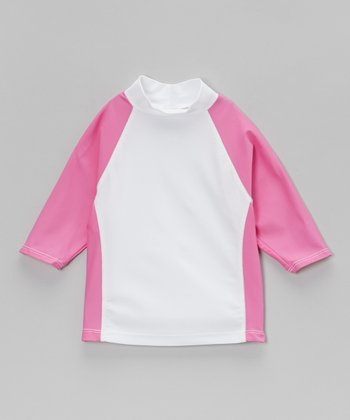 Pink & White Kohala Rashguard - Infant, Toddler & Girls