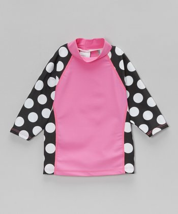 Pink & Black Polka Dot Rashguard - Toddler & Girls