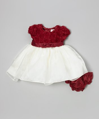 Red & White Rosette A-Line Dress & Diaper Cover - Infant & Toddler