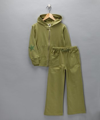 Kate Quinn Organics Green Olive Organic Vintage Track Jacket & Pants - Infant & Boys
