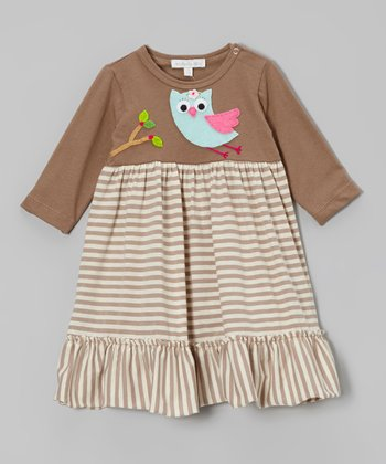 Brown Stripe Flying Owl Ruffle Dress - Infant, Toddler & Girls