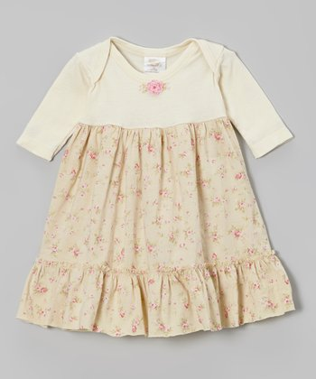 Ecru Rosette Ruffle Lap Neck Dress - Infant